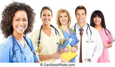 médico, sonriente, enfermera
