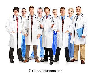 médico, sorrindo, team., doutores