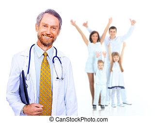 médico, sorrir feliz, doutor familiar