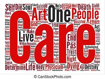 médico, suicidio asistido, y, el, arte, de, cuidado, texto, plano de fondo, palabra, nube, concepto