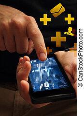 médico, teléfono, app