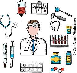 médico, terapeuta, doutor, ícones