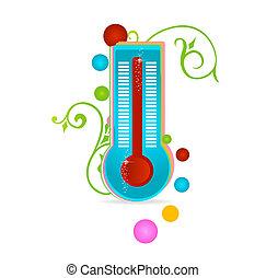 médico, termómetro, aislado, señal