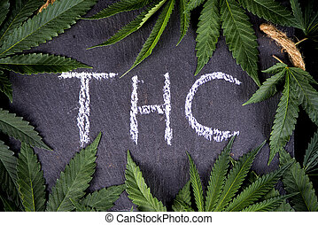 médico, thc, cannabis, hojas, plano de fondo, encuadrado, marijuana