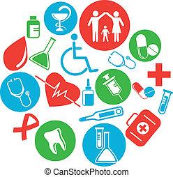 médico, themed, cobrança, ícones