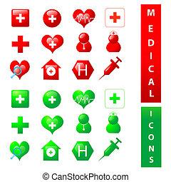 médico, themed, colección, iconos