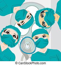 médico, trabajando, equipo