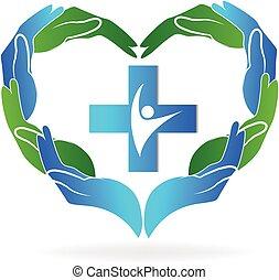 médico, trabajo en equipo, manos, logotipo