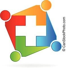 médico, trabalho equipe, logotipo