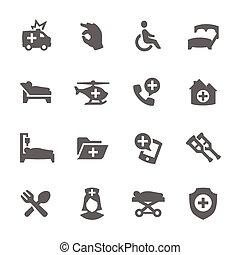 médico, transporte, iconos