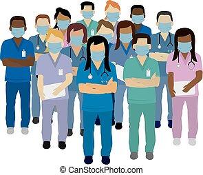 médico, usando, vetorial, máscara, pessoal, segurança, rosto