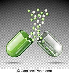 médico, vector, cápsula, abierto, píldora