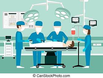 médico, vector, concepto, teatro, cirujanos, operación