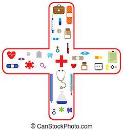 médico, vectoricon, conjunto, para, asistencia médica, industria