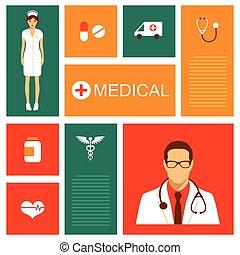 médico, vetorial, fundo