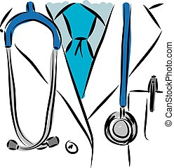 médico, vetorial, illustration., doutor