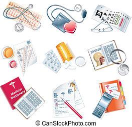 médico, vetorial, jogo, ícone