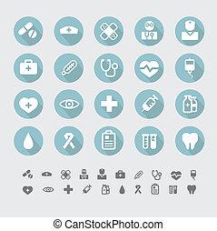 médico, vetorial, jogo, ícones