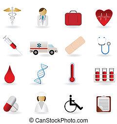 médico, y, atención sanitaria, símbolos