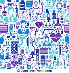 médico y salud, cuidado, seamless, pattern.