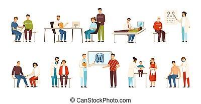 médicos, otolaryngologist, cirujano, visitar, terapeuta, pediatra, gente, -, colección, vector, vario, dermatologist., oftalmólogo, doctors, neurólogo, gastroenterologist, o, illustration.