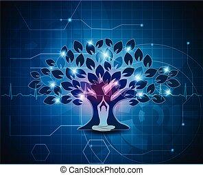 méditation, arbre, fond, sous