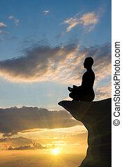 méditation, coucher soleil