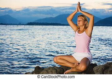 méditation, coucher soleil, temps