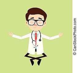 méditation, docteur, professionnel, -
