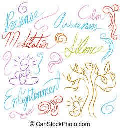 méditation, ensemble, symbole