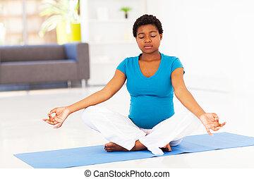 méditation, femme, pregnant, africaine