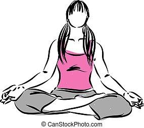 méditation, femme, zen, illustration