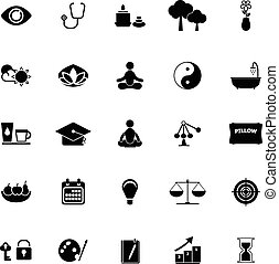 méditation, fond blanc, icônes