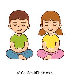 méditation, illustration., gosses
