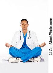méditation, indien, mâle jeune, docteur