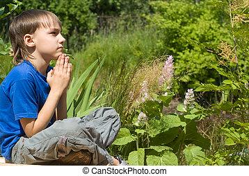 méditation, jeune garçon