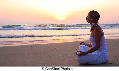 méditation, levers de soleil, temps