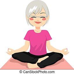 méditation, personne agee, yoga
