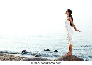 méditation, sable plage