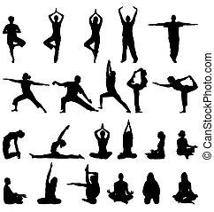 méditation, silhouettes