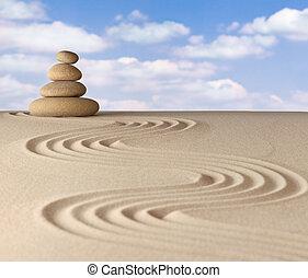 méditation, zen jardin