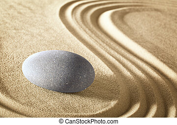 méditation, zen, jardin pierre