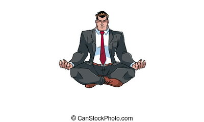 méditer, animation, homme affaires