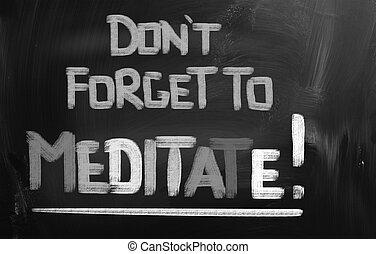 méditer, concept, oublier, pas