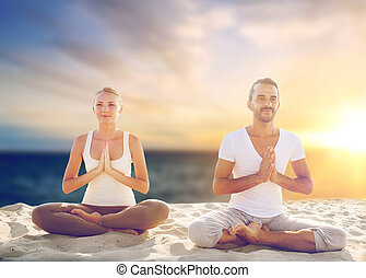 méditer, couple, plage, yoga, confection
