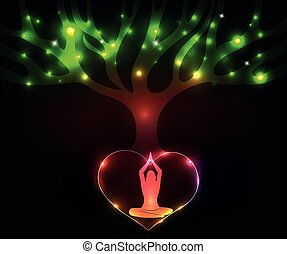 méditer, femme, arbre, coloré, sous
