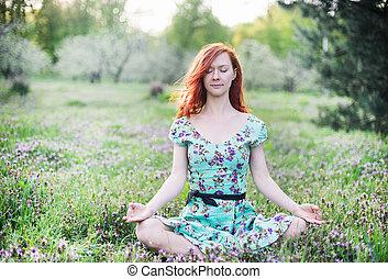 méditer, femme, parc, joli