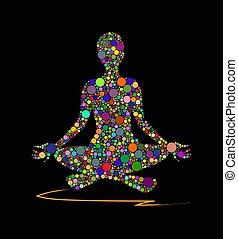 méditer, figures, homme
