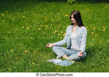 méditer, girl, parc, jeune