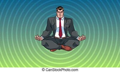 méditer, homme affaires, fond